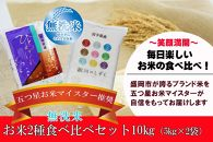 盛岡市産「銀河のしずく」「ひとめぼれ」無洗米食べ比べセット5kg×2袋