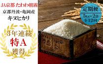 【緊急支援品】(定期便)京都丹波・亀岡産キヌヒカリ12ヶ月定期便計120kg〔(5kg×2袋)×全12回〕