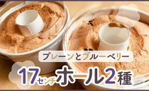 【八ヶ岳シフォン】17㎝ホール2種(プレーンと明野ブルーベリー) 2個