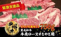 山梨県北杜市産 甲州牛 黒毛和牛牛肩ロースすきやき用(750g)