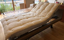 介護ベッドにプラスする手作り敷きふとん(ひとえガーゼのカバー付き:アイボリー)