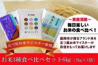 盛岡市産 米の食べ比べセット3種2㎏×3袋