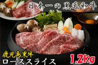 「応援特別品」鹿児島黒牛ローススライス(1.2㎏) T-3001