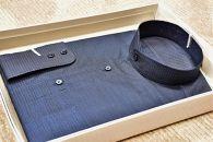 大島紬シャツ<藍色>