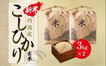 【玄米】丹波産こしひかり玄米《新米》3㎏×2