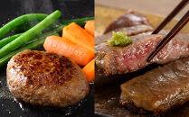 <網走産>【オホーツクあばしり和牛】ハンバーグ・サーロインステーキセット