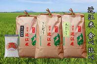【定期便】令和2年産近江米3品種食べ比べ 米粉付き