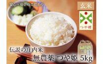 庄内米無農薬つや姫玄米5kg【清川屋】 J132