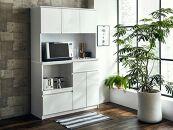 【開梱設置】食器棚レンジ台幅116.3cmナポリ 鏡面ホワイトキッチンボード幅120家具