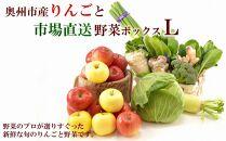 奥州市産りんごと市場直送野菜ボックス(L)【100個限定・12月中旬お届け】