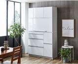 【開梱設置】食器棚レンジ台ナポリスライドアップ扉タイプ幅120鏡面ホワイトキッチンボード家具