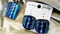 小山フュージングガラス(ダイクロ)のアクセサリーロットNo3【瑠璃(るり)】~ペンダントとピアス(希望によりイヤリングに加工可能)(1点モノ)