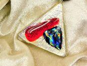 小山フュージングガラス(ダイクロ)のアクセサリーロットNo5【柘榴(ざくろ)】~ペンダント(1点モノ)