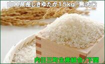 山口県産しきゆたか15kg無洗米(2020年収穫/精米まで内日三町生産組合にて一貫加工)