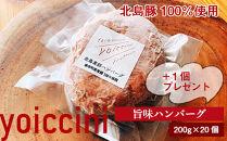 北島豚100%使用!ヨイッチーニ旨味ハンバーグ200g×20個+1個〈ヨイッチーニ〉