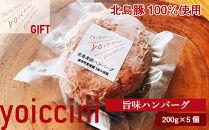 ギフトに!北島豚100%使用!ヨイッチーニ旨味ハンバーグ200g×5個〈ヨイッチーニ〉