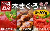 沖縄県産贅沢本まぐろの切り落とし・ネギトロ・串セット(800g)