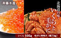 AM035数量限定☆北海道の味!いくらと特特大毛がにのセット<斉藤水産>