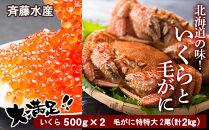 AM036数量限定☆北海道の味!いくらと特特大毛がに大満足セット<斉藤水産>