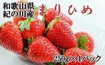 2022年発送【和歌山オリジナル品種】紀の川市産「まりひめ」約1kg(250g×4パック入り)