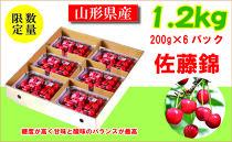 【先行予約(2021年発送)】さくらんぼ 家庭用佐藤錦 たっぷり1.2kg CX004