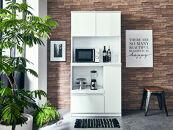 【開梱設置】食器棚レンジ台幅88.8cmナポリ 鏡面ホワイトキッチンボード幅90家具