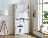 【開梱設置】食器棚レンジ台キッチンボード令和幅83アンティークホワイトフルカスタム(扉・モイス・コンセント付き)