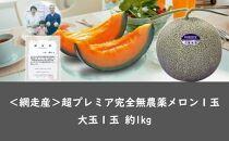【期間限定】<網走産>超プレミア完全無農薬メロン1玉<早期予約>【2021年7月上旬発送開始予定】