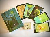 森のタロットカードセットと八ヶ岳の植物を描いたミニキャンバス絵のセット