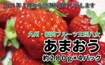 九州・福岡フルーツ王国八女から直送!あまおう約1,120g(約280g×4パック)