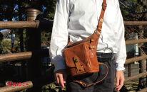 【キャメル】街歩きを面白くする革の2wayレッグバッグ
