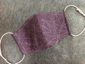 塩沢紬マスク(Lサイズ)柄:麻の葉模様 紫地薄紫目色