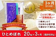 【3か月定期便】盛岡市産ひとめぼれ20kg×3か月