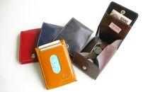 【ブラウン】FOOTANブランド 本革小銭入れ・カードケース