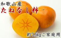 【先行予約】【秋の味覚】和歌山産のたねなし柿ご家庭用約7.5kgサイズ混合