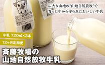 【12ヶ月定期便】斉藤牧場の山地自然放牧牛乳(720ml×3本×12回)