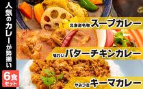 北海道名物スープカレー・味わいバターチキンカレー・やみつきキーマカレー(全6食分)