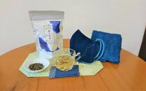 藍のお茶(ティーパック)と藍染めハンドタオル・マスクのセット