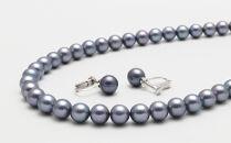 あこや真珠(7.5-8mm珠、ブラック系)ネックレス&イヤリングセット
