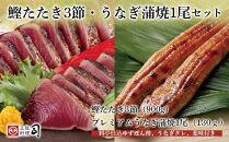 土佐料理司高知本店鰹たたき3節・うなぎ蒲焼1尾セット