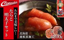 AK038【コンサドーレ札幌コラボ商品】たれまで美味しい!たらこ・明太子セット(各300g)