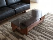 CARAMELLA Living Table 1206 walnut (glass top)