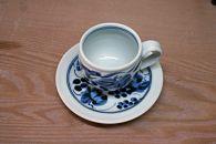 藍山窯(あいざんがま)葡萄絵樽コーヒーカップ