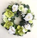 【ギフト用】美流渡の森アーティフィシャルフラワー・リース(クリスマスローズ、白バラ)