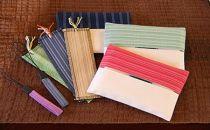 【伝統工芸品】真岡木綿小物セット(ティッシュケース、ストラップ、織しおり)