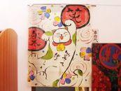 手描き麻のれん★元気いっぱい笑楽にゃんこ夕立窯TO436