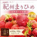 【2019年1月以降発送】紀州まりひめ苺秀品300g~400g×2