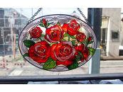 黒壁ガラス館オリジナルステンドフレームパネル バラ