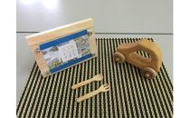いずもく(和泉市内産木材)ヒノキの木製スプーンフォーク、写真立て、車 3点セット