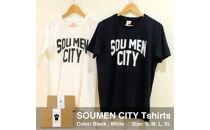 さりげなく個性をアピール出来るSOUMENCITYTシャツ【黒・Lサイズ】